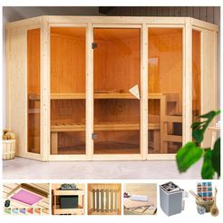 karibu sauna »cassidy«, 231x231x198 cm beige