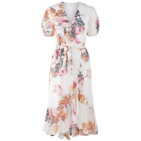 Y.A.S Pofmouw wikkel Midi jurk wit
