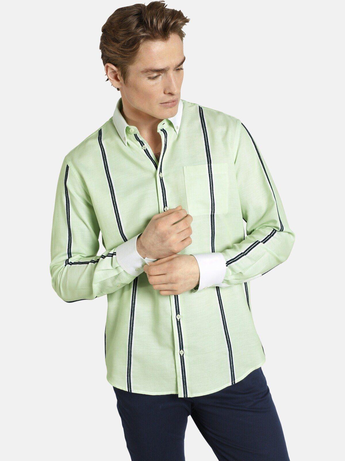 Shirtmaster Gestreept Overhemd Âgreenmelonâ Koop Je Bij - Geweldige Prijs