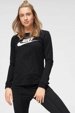 nike sportswear shirt met lange mouwen »w nsw tee essntl ls icon ftra« zwart