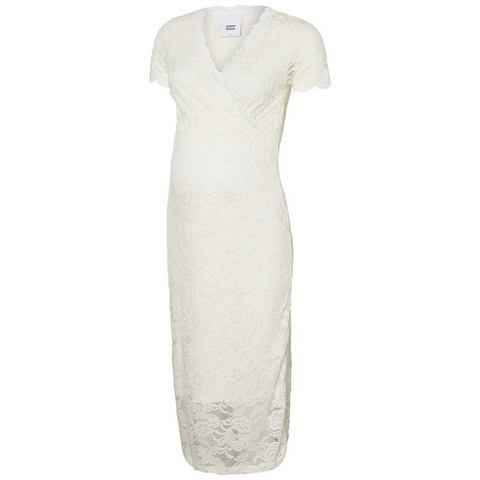 Mama Licious kanten wikkel Midi jurk wit