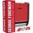 george foreman »steel entertaining fitnessgrill 25050-56, 1850 watt« contactgrill rood
