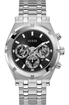 guess multifunctioneel horloge continental, gw0260g1 zilver
