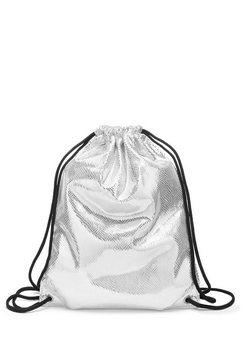 lascana gymbag gym bag van glanzend materiaal zilver
