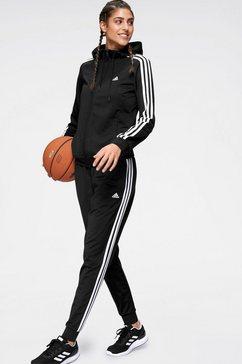 adidas performance trainingspak »osr polyester 3 stripes tracksuit« (set, 2-dlg.) zwart