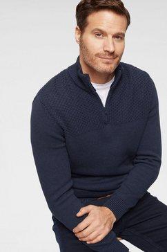 wrangler schipperstrui »half zip knit« blauw