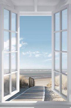 reinders! decoratief paneel uitzicht op de noordzee blauw