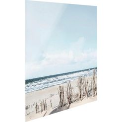 print op glas »tag am strand« beige