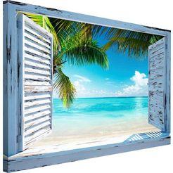 artprint »strandfenster« blauw