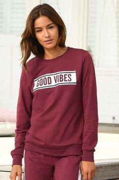 s.oliver red label bodywear sweatshirt met een frontprint «good vibes» rood