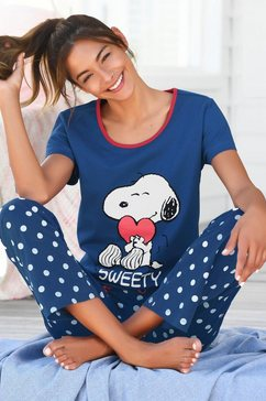 peanuts pyjama met snoopy-print en gestippelde broek blauw