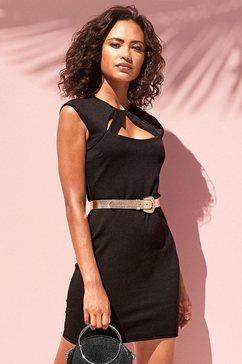 lascana party-jurk met elegante hals zwart