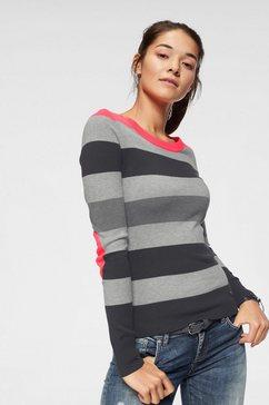 ajc trui met blokstreepmotief in contrastkleur rood