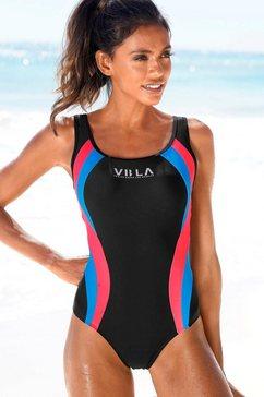 venice beach badpak met logoprint en colourblocking-inzetten zwart