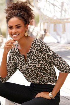 lascana shirt met 3-4-mouwen bruin