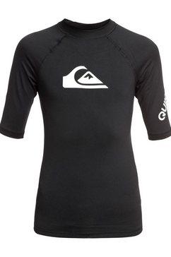 quiksilver - all time - rash vest met korte mouwen en upf 50 voor jongens 8-16 zwart