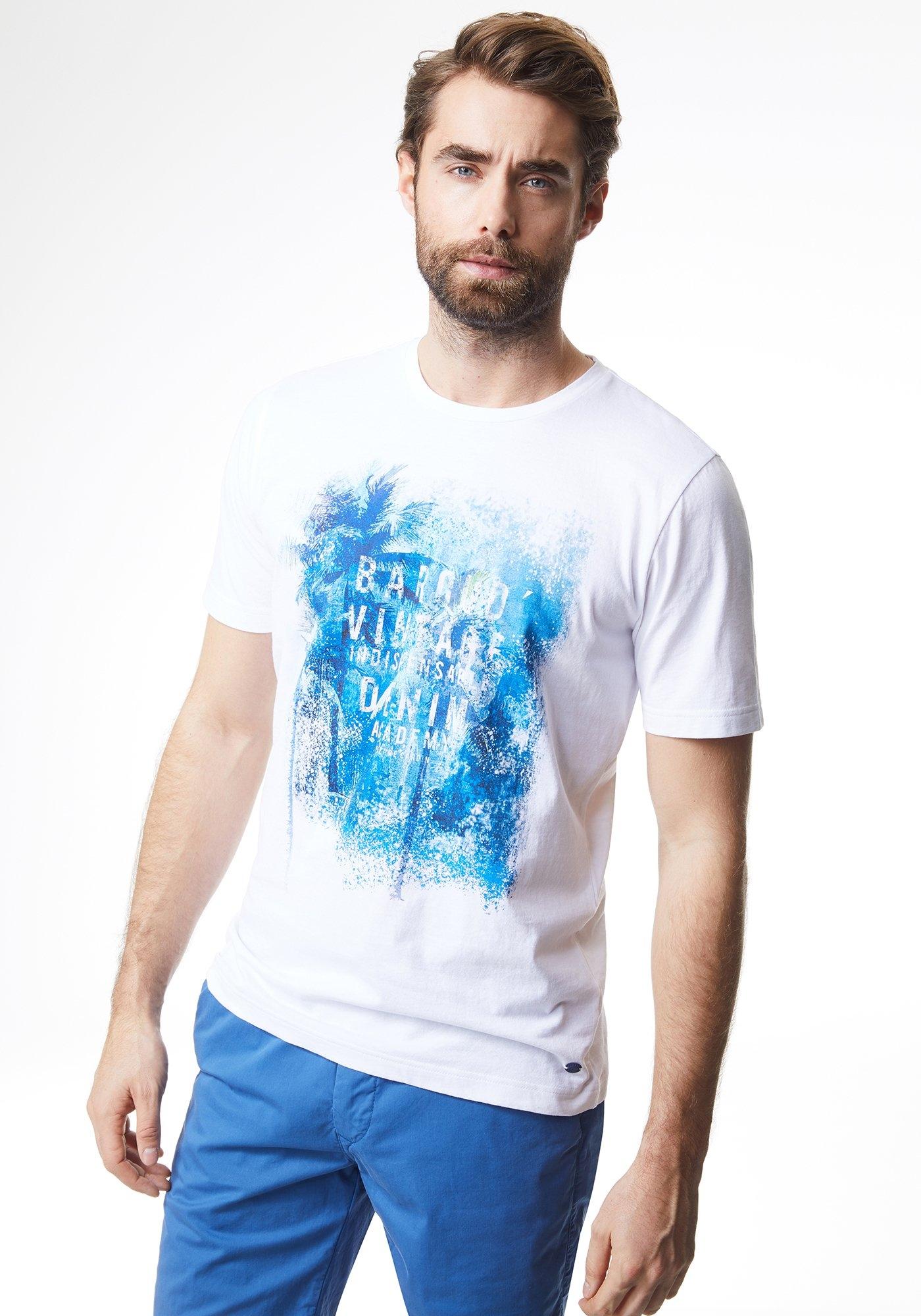 Pierre Cardin T-shirt met ronde hals en palmprint - modern fit bestellen: 14 dagen bedenktijd
