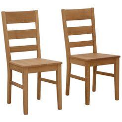 home affaire stoel paul in een set van 2, gemaakt van massief eiken (set, 2 stuks) beige