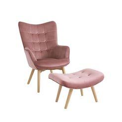 fauteuil+hocker roze