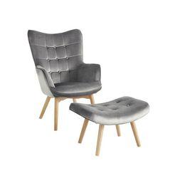 fauteuil+hocker grijs