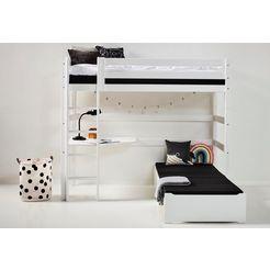 hoppekids hoogslaper inclusief tafelblad en uitschuifbaar bed zwart