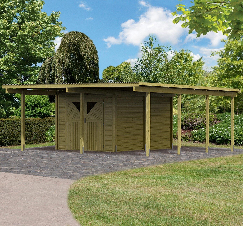 Karibu set: Dubbele carport »Eco 2«, Bxd: 563x676 cm nu online kopen bij OTTO