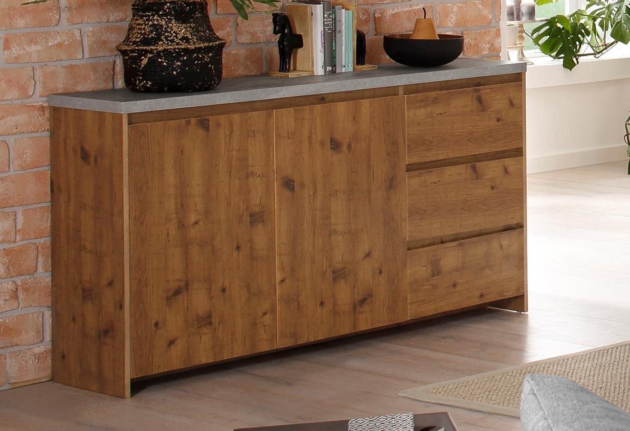 Home affaire dressoir »Maribo« in moderne rustieke stijl, met mooi bovenblad (beton), breedte 150 cm - verschillende betaalmethodes