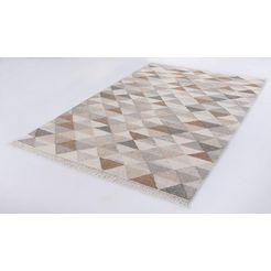 vloerkleed, »triangle kelim«, tom tailor, rechthoekig, hoogte 5 mm, met de hand geweven beige