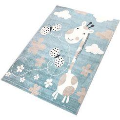 vloerkleed voor de kinderkamer, »giraffe«, living line, rechthoekig, hoogte 12 mm, machinaal geweven blauw
