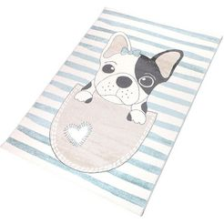 vloerkleed voor de kinderkamer, »puppy«, living line, rechthoekig, hoogte 12 mm, machinaal geweven blauw
