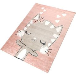 vloerkleed voor de kinderkamer, »meow«, living line, rechthoekig, hoogte 12 mm, machinaal geweven roze