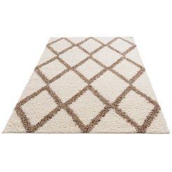 hoogpolig vloerkleed, »linz«, my home, rechthoekig, hoogte 31 mm, machinaal geweven wit