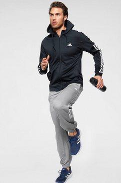 adidas performance trainingspak »3 stripes hopoded tracksuit m« (set, 2-delig) blauw