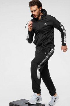 adidas performance trainingspak »3 stripes hopoded tracksuit m« (set, 2-delig) zwart