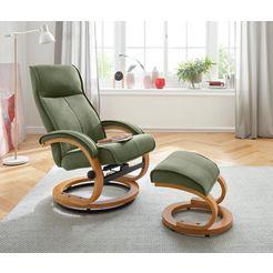 my home relaxfauteuil  hocker »lille« van zacht luxe-microgaren, houten onderstel, zithoogte 46 cm groen