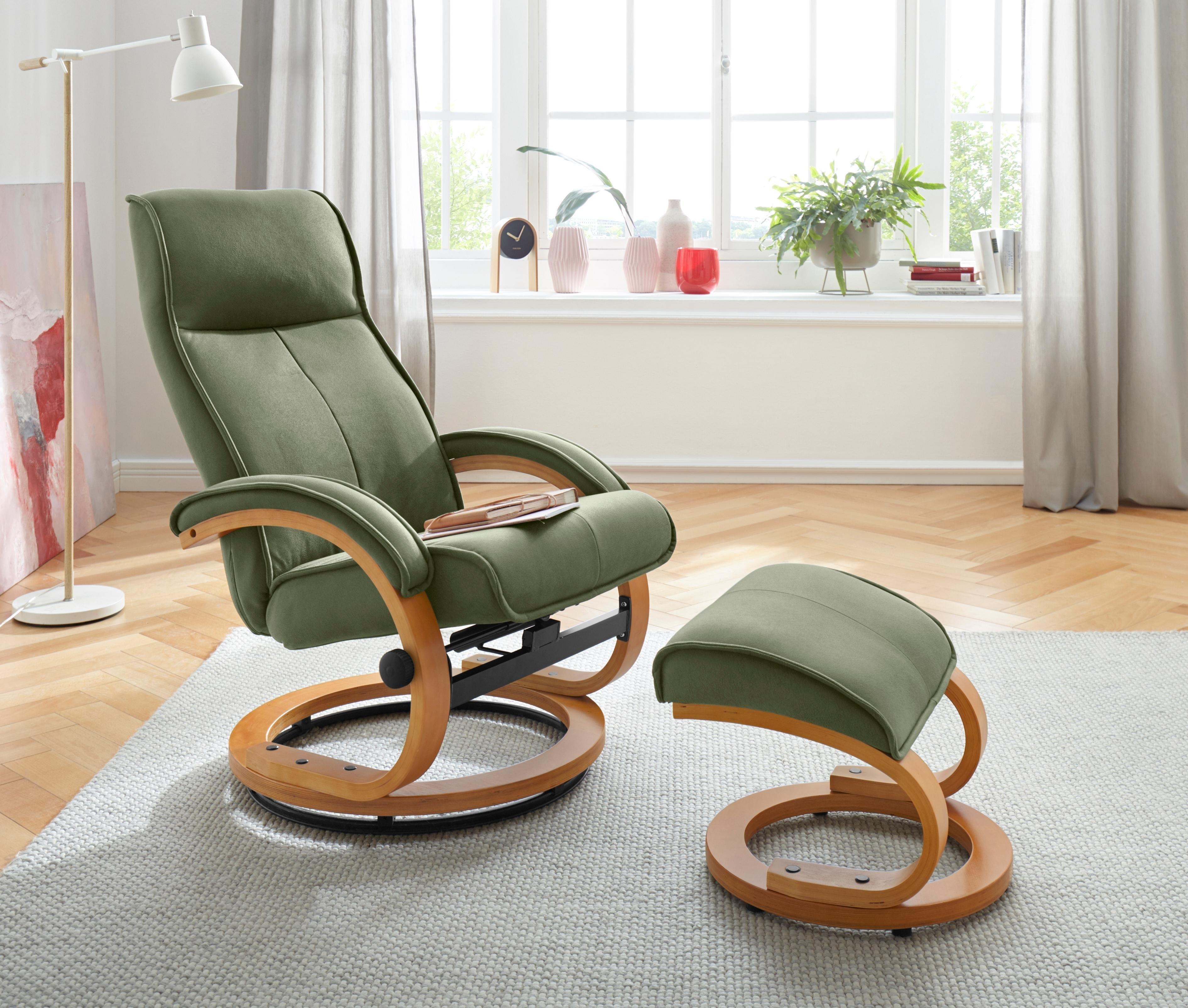 My Home relaxfauteuil & hocker »Lille« van zacht luxe-Microgaren, houten onderstel, zithoogte 46 cm - gratis ruilen op otto.nl