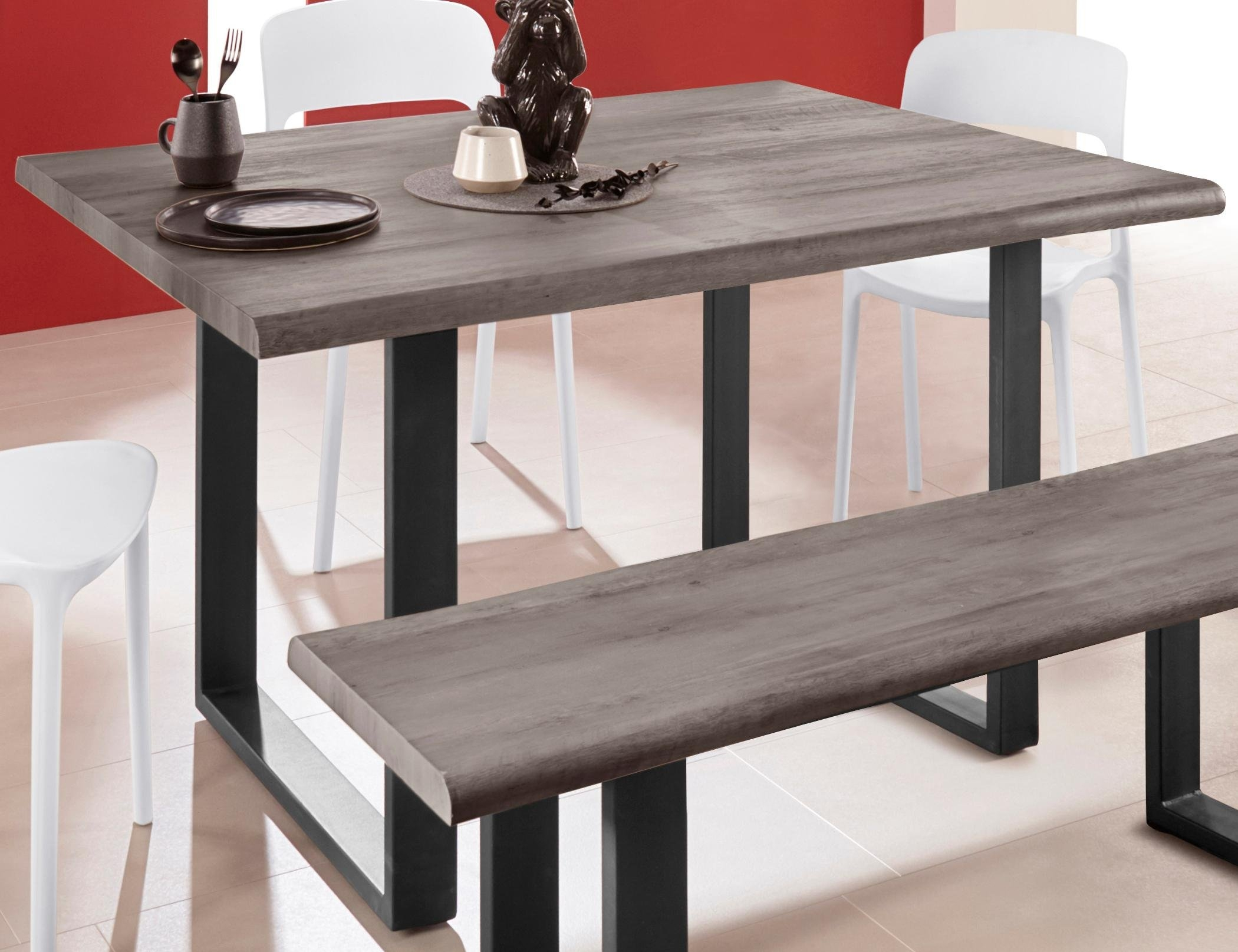 Inosign tafel van hout »Selina« met mooi metalen frame en hout-look met folie op het tafelblad online kopen op otto.nl