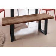inosign zitbank »selina« met mooi metalen frame en hout-look met folie op het zitoppervlak beige