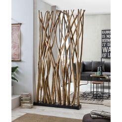 sit roomdivider romanteaka van gerecycled teakhout, shabby chic, vintage, 100x200 cm beige