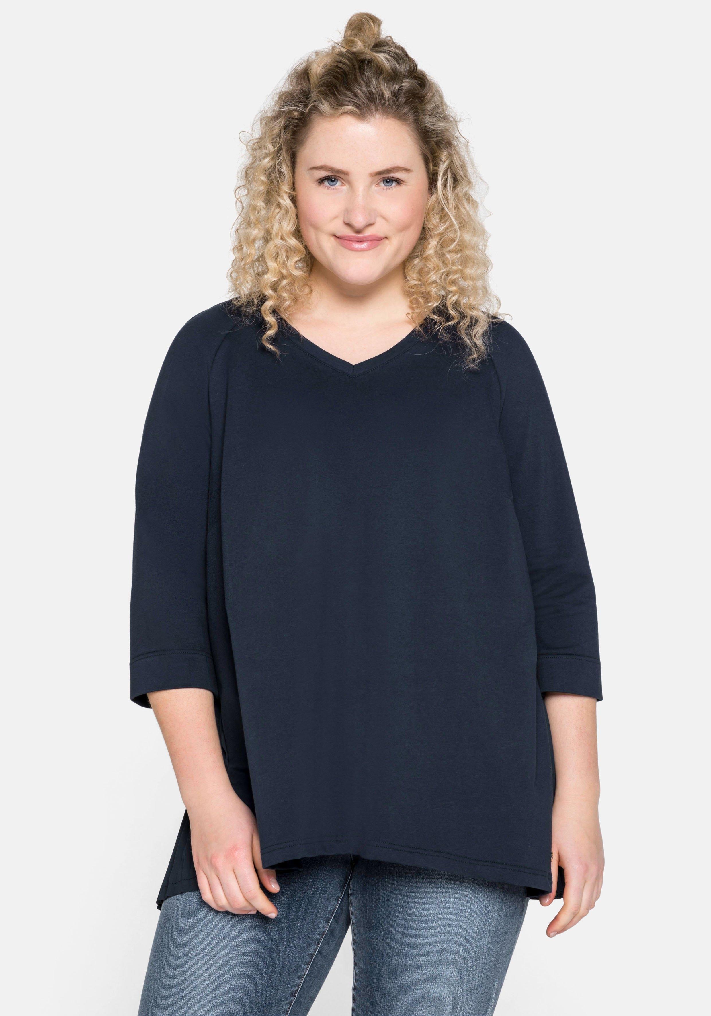 Sheego sweatshirt in a-lijn met plissé-inzet achter - verschillende betaalmethodes