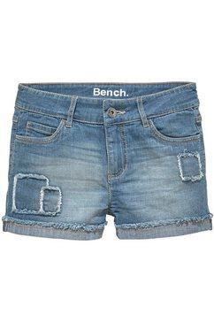 bench. jeansshort met modieuze badges blauw