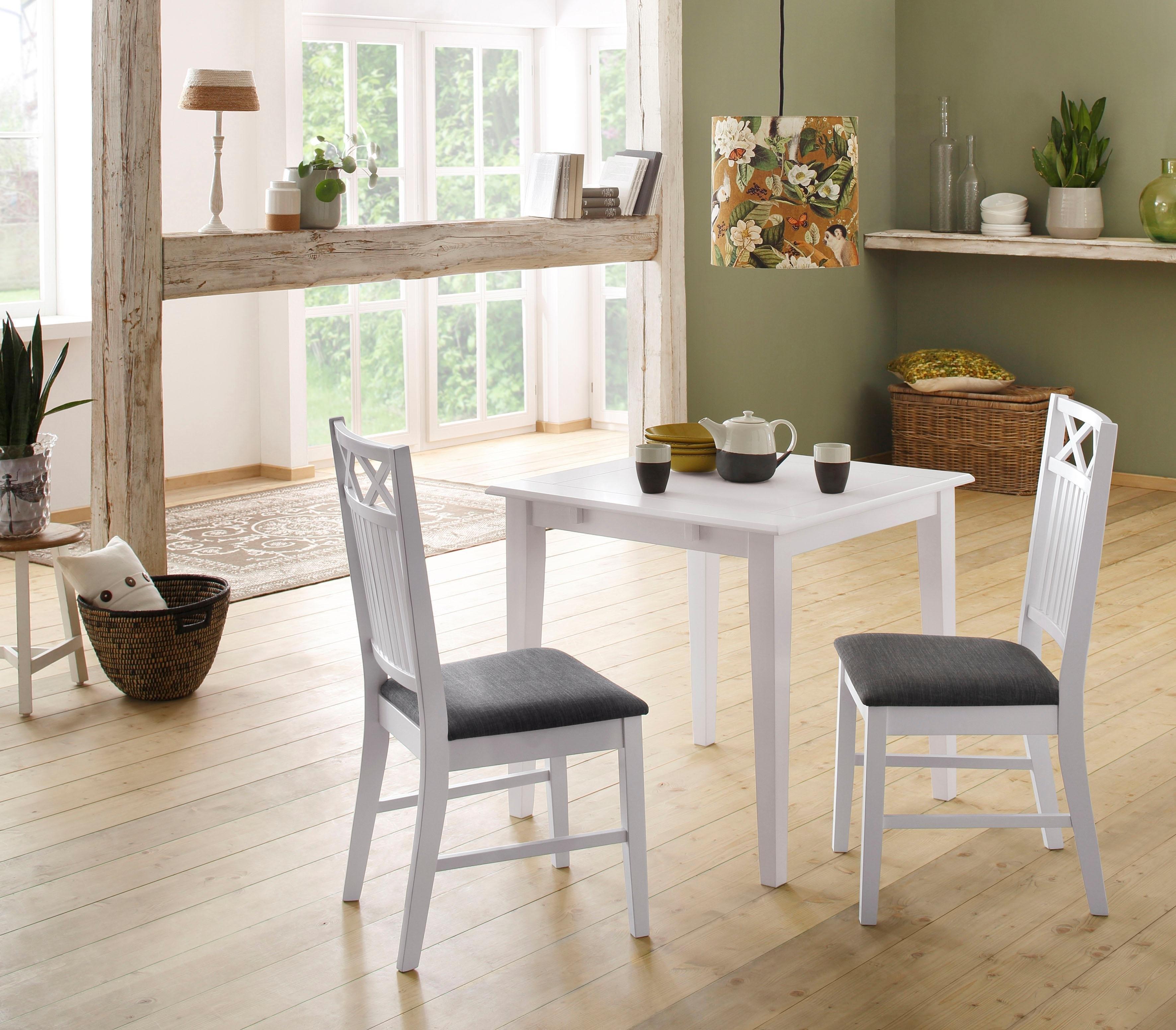 Home affaire eethoek Olvera bestaand uit fullerton eettafel 80 cm, set van 2 sonoma eetkamerstoelen en 1 insteekblad (3-delig) (set, 3-delig) - gratis ruilen op otto.nl