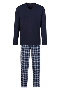s.oliver red label beachwear pyjama met geruite broek blauw