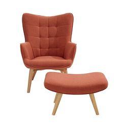 fauteuil+hocker oranje