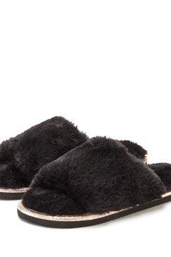 lascana pantoffels slippers met heerlijk zacht imitatiebont zwart