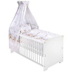 zoellner compleet bed wit, knuffelbeer, grijs inclusief ledikantje, matras, lattenbodem, hemelstang met hemel, hoofdbeschermer en overtrekset; made in europe (7 delig) wit