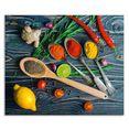 artland keukenwand »gewuerze in metallloeffeln« groen
