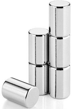 blomus magneet set van 6 magneten -velio- voor glazen magneetbord (set, 6 stuks) zilver
