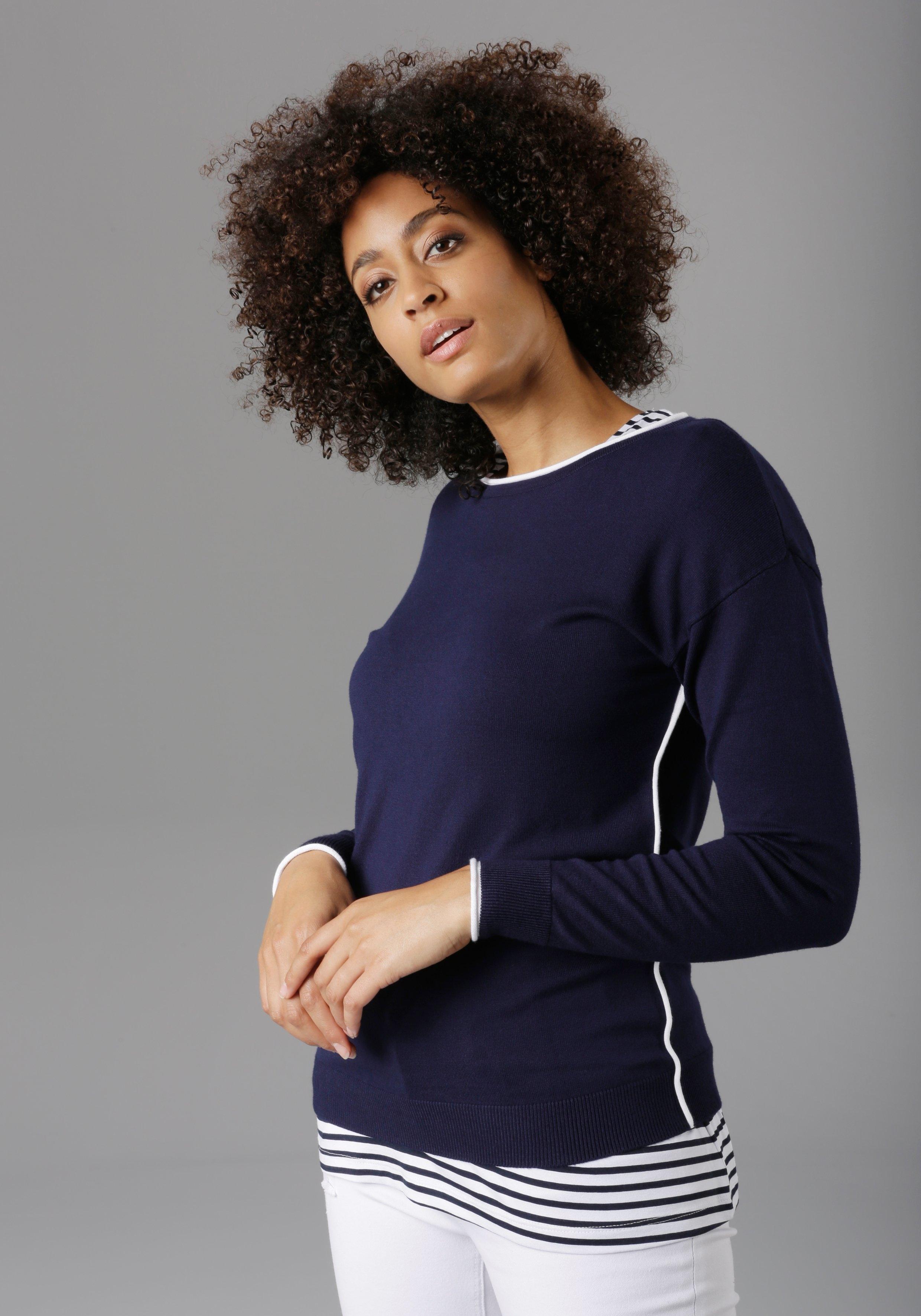Aniston SELECTED Gebreide trui met contrastkleurige inzetten online kopen op otto.nl