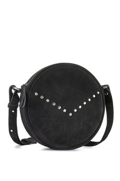 lascana schoudertas van leer, ronde mini-bag met modieuze studs zwart